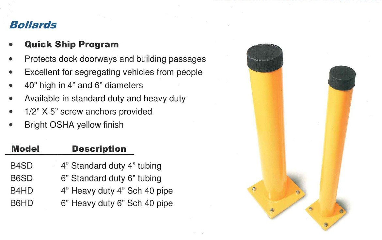 OSHA yellow safety bollards on graphic with sizing specs
